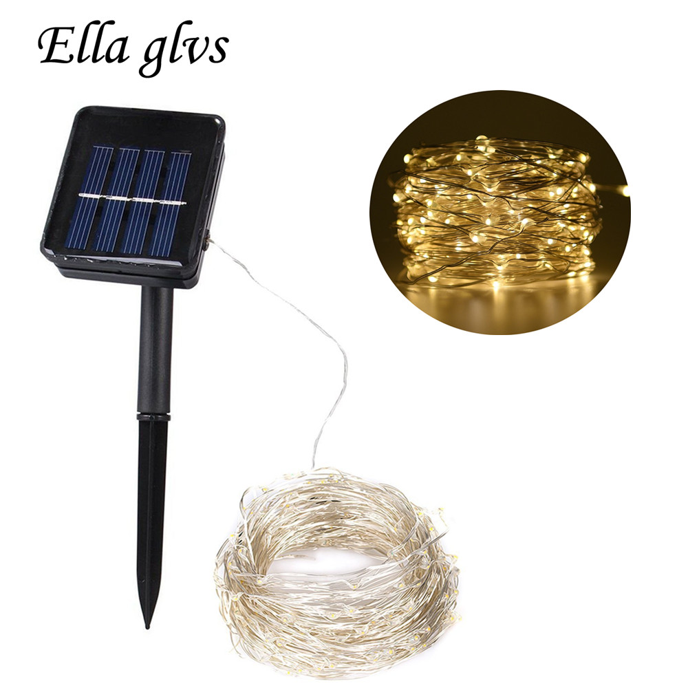 Solar LED Strings light Energía solar LED Silver Wire String lamp 10M 20M Fairy Luz exterior Decoración Holiday Garden Wedding Party