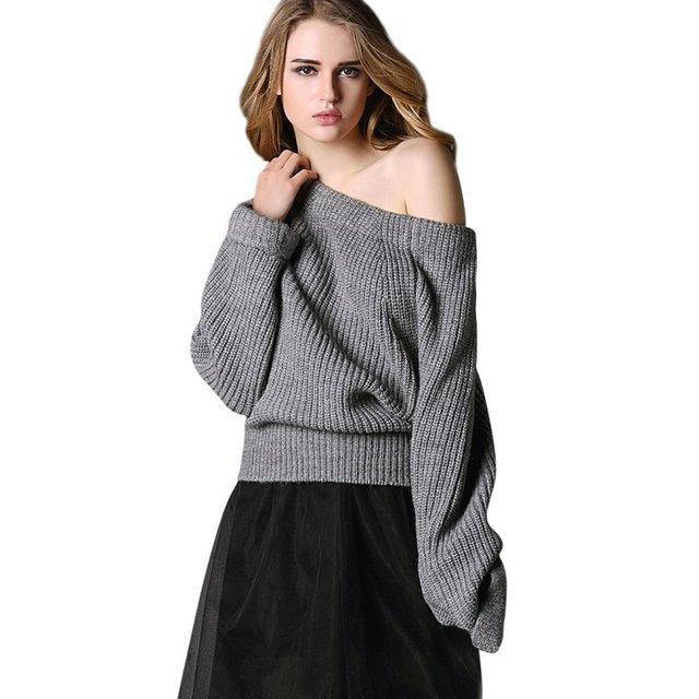Aliexpress.com : Buy Women Off Shoulder Sweater Coat Knitted Long ...