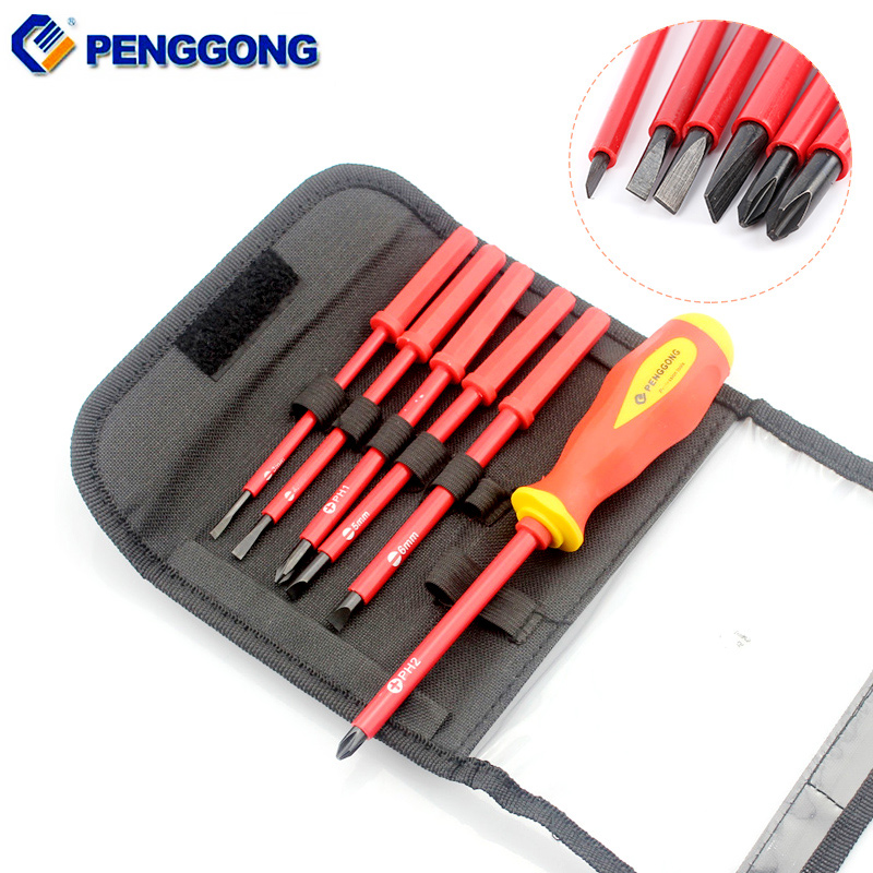 PENGGONG 7 in 1 Multifunction Screwdriver Set Magnetic Alloy Steel Screw Driver Slotted Phillips Screwdrivers Hand Tool Set 6pcs 50mm slotted screwdriver bits set 2mm 6mm s2 alloy steel magnetic flat head slotted tip nozzles for screwdrivers bit set