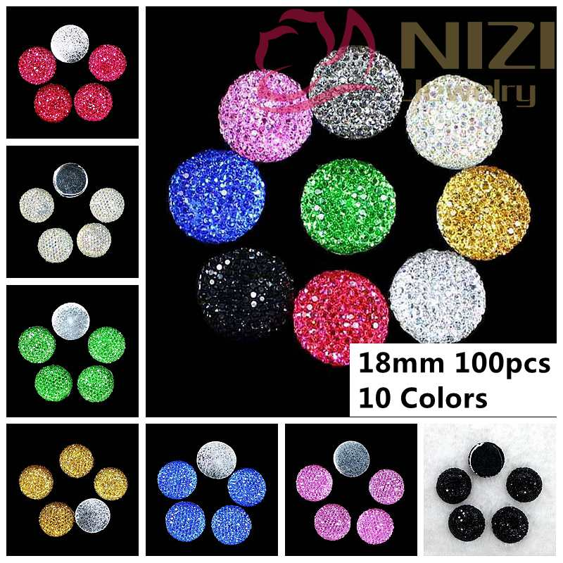 New Rhinestone Beads 18mm 100pcs Round Resin Flatback Rhinestone Beads Jewelry Garment Phone Case Accessories Fashion Cabochons woven bracelet accessories solid round beads green pink multicolored 100 pcs