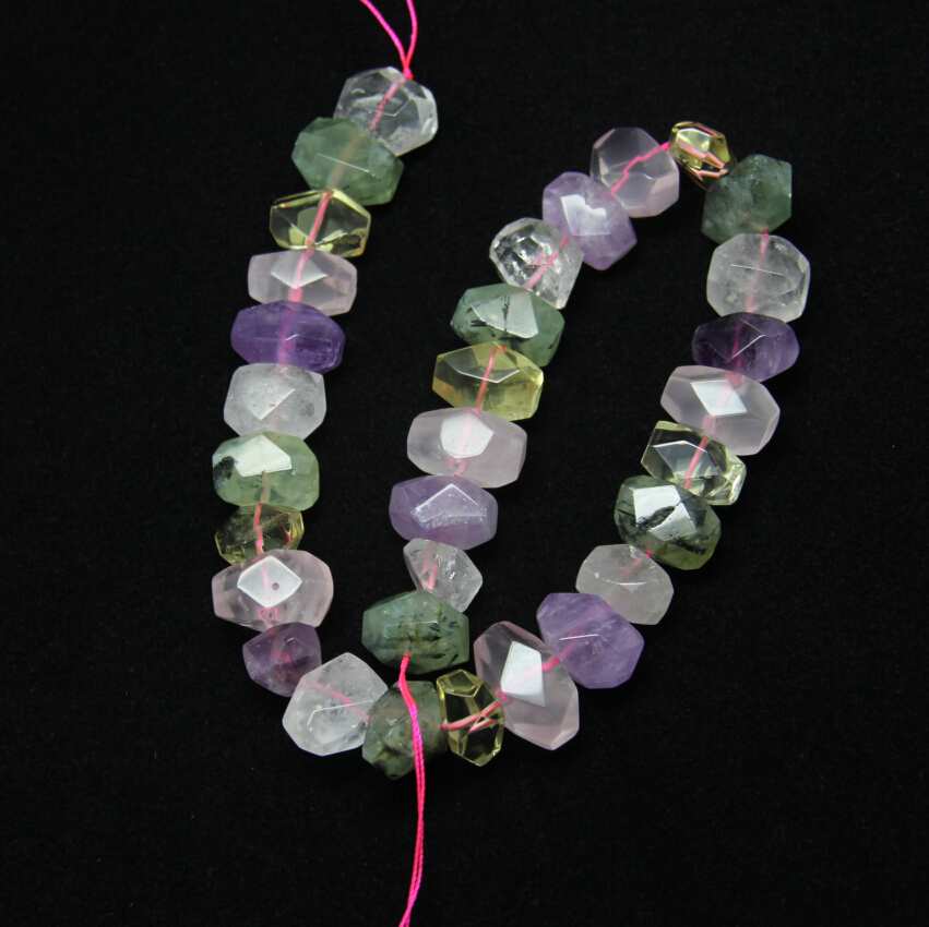 Approx 30pcs/strand Mixed Stones Natural Crystal Quartz Beads Pendants Polished Faceted Nugget Beads For Woman Jewelry mix stones beads pendant stone natural - title=