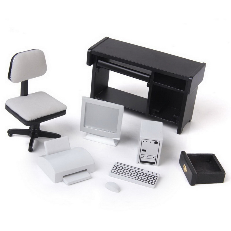 Computer Desk And Chair Set Posture Alignment 1 12 Dollhouse Miniature Furniture Printer Free Shipping
