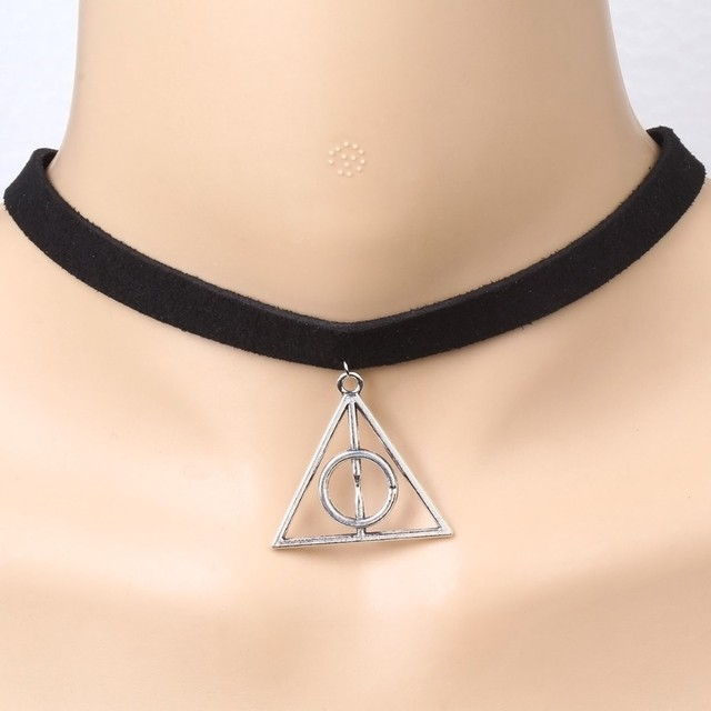 Black Velvet Collar Necklace 10mm Selling Harry Potter Triangle Pendant For Chockers Women