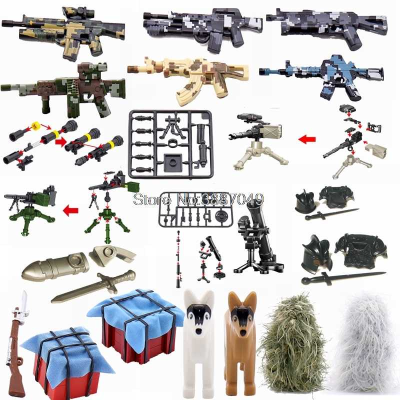 Legoing Military Weapon Box Suit Sword Guns Building Kits Toys For Children Military Legoing Parts Blocks Gifts