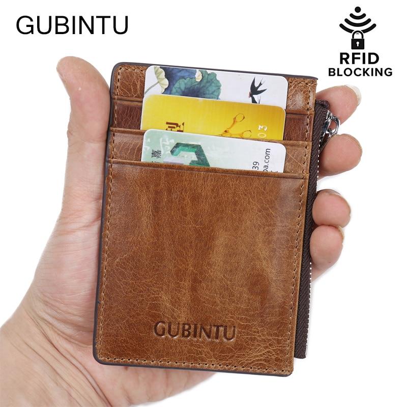 2018 RFID Blocking Genuine Leather Slim Wallet for Men Small Card Holder Luxury Brand Designer Short Wallets Mini Zip Coin Purse
