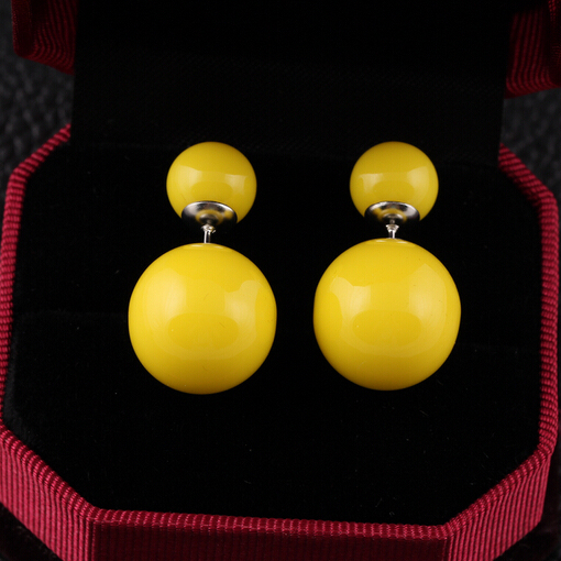 17KM 16 Colors Brand Double Side Earrings Trendy Cute Charm Double simulated Pearl Statement Ball Stud Earrings Accessories
