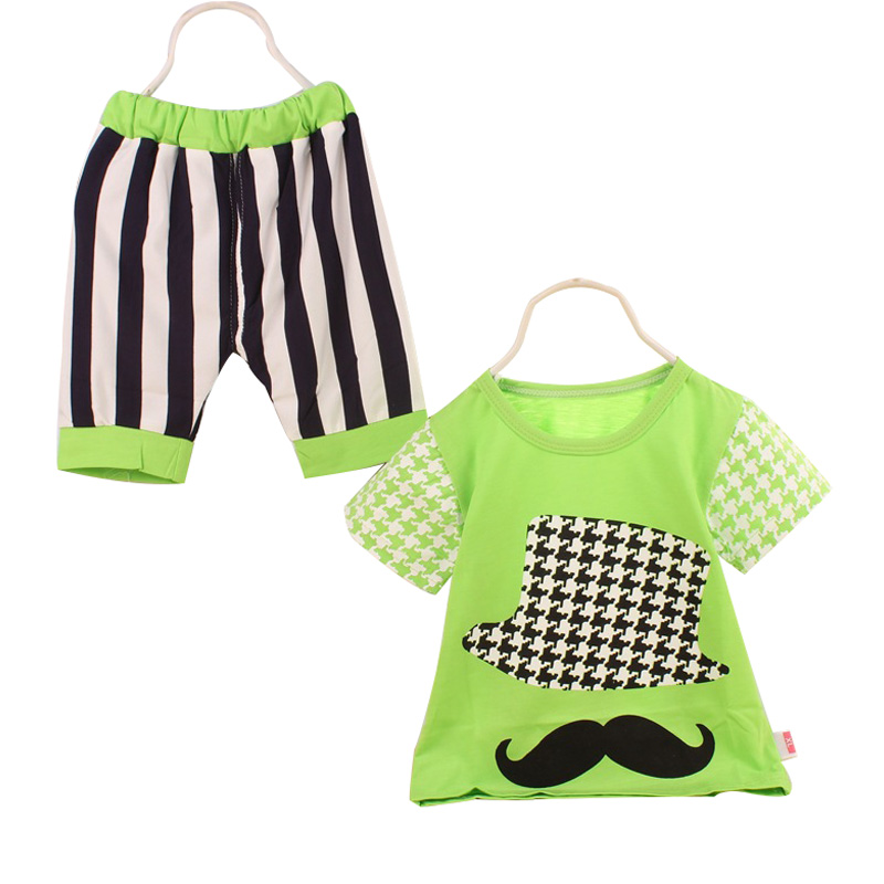 9aa4ae8ca95db 2016 صيف جديد ملابس اطفال القطن الكورية نمط طفلة الملابس طفل رضيع الملابس  مجموعة قصيرة الأكمام + السراويل 2 قطع 0-3 العام