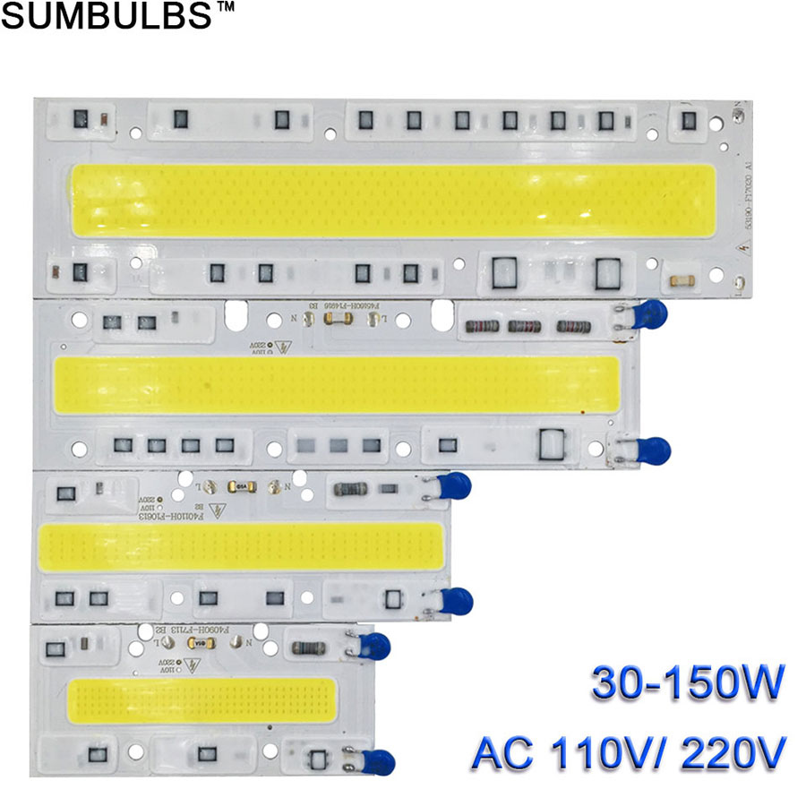 Sumbulbs AC 110V 220V COB LED Chip Smart IC 150W 100W 70W 50W 30W COB Bulb Lamp LED Light Source Warm Cold White for Floodlight перфоратор sds plus bosch gbh 3 28 dfr 800вт