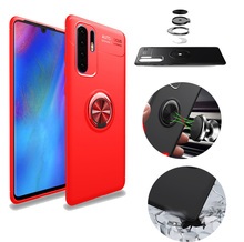 For Huawei P30 Pro Magnetic Finger Ring Stand Car Holder Phone Shell Fashion Rubber Armor Shockproof Back Cover Lite