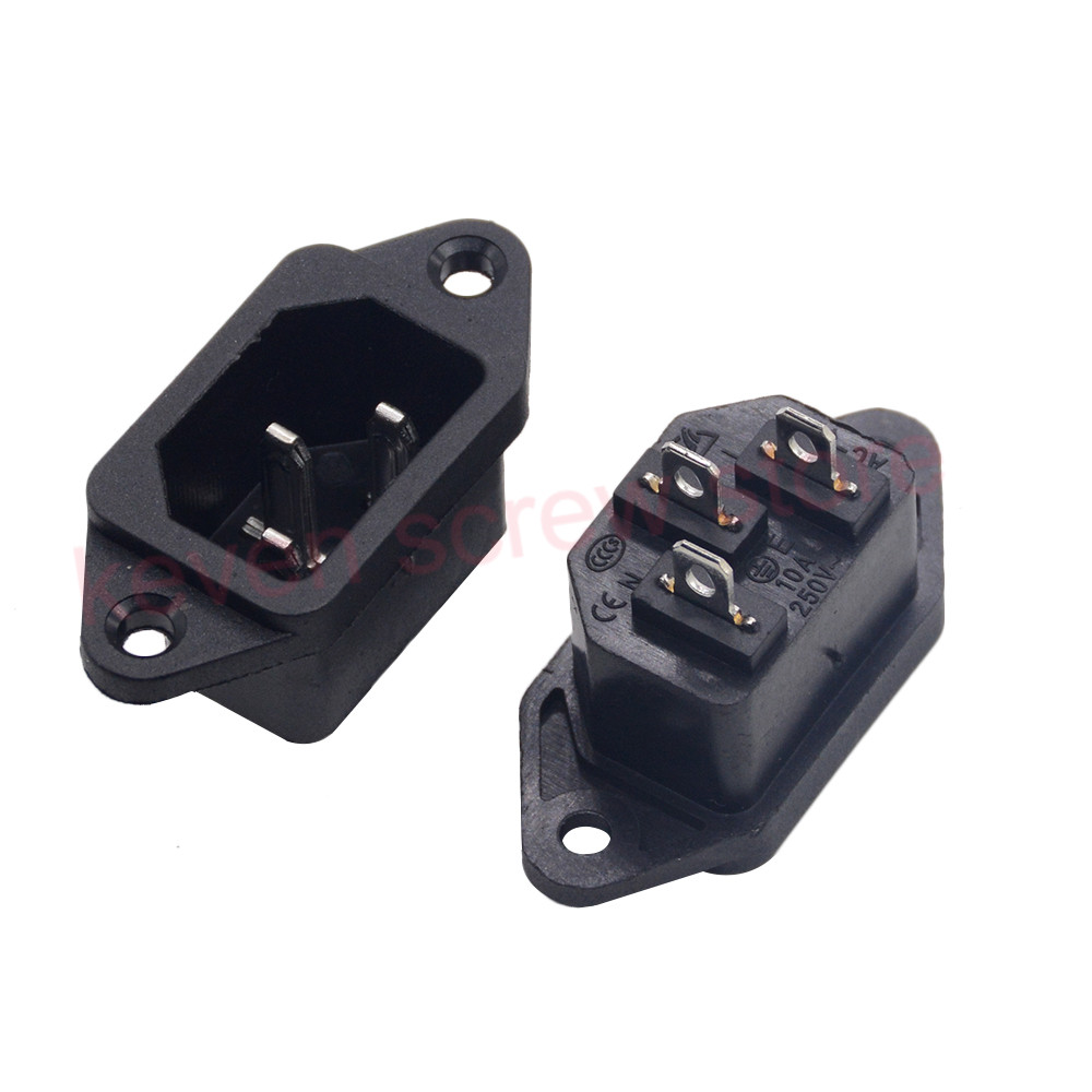 AC 250V 10A 5PCS 3P IEC320 C14 Male Plug Panel Power Inlet Sockets Connectors-in Electrical Sockets from Home Improvement