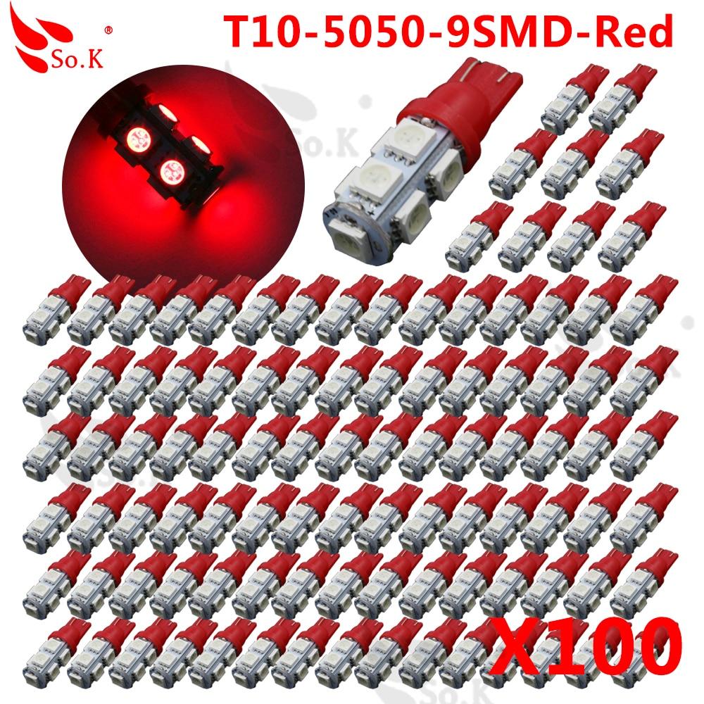 100pcs T10 3W 360 Degree Wedge 5050 9 SMD LED Bulb XENON WHITE white Warm white Yellow Red Blue Green Car Tail light