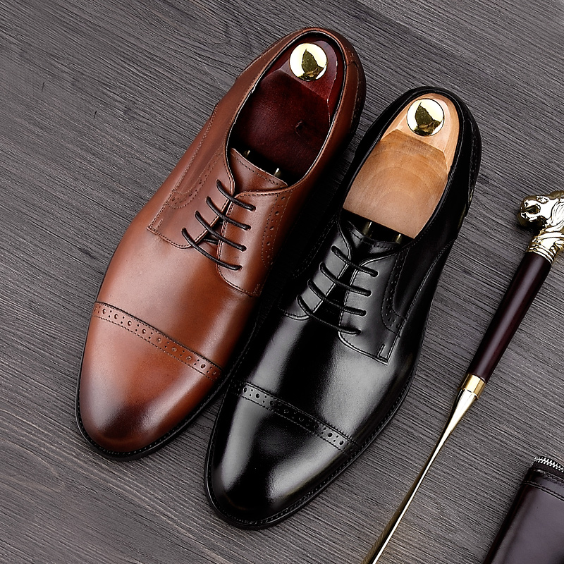 British Style Round Toe Carved Man Formal Dress Shoes Genuine Leather Lace up Oxfords Men's Breathable Prom Brogue Footwear NE36 купить