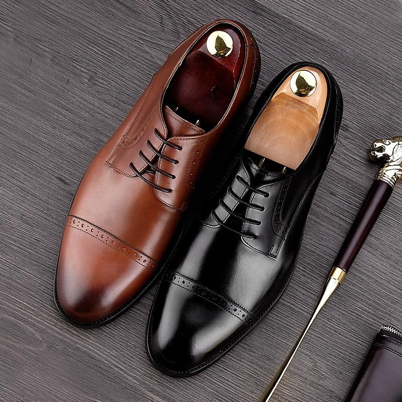 mejor selección d5223 b1456 € 71.29 7% de DESCUENTO|Estilo británico punta redonda tallada hombre  vestido formal Zapatos Cuero auténtico Encaje up Oxfords hombres  transpirable ...