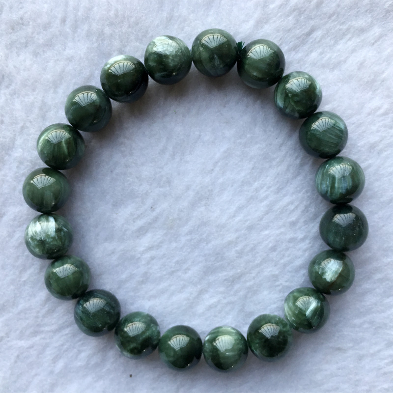 High Quality Natural Genuine Green Seraphinite Stretch Finish Men's Bracelet Round beads 10mm 05152 genuine green seraphinite natural stone crystal round beads 14mm women mens stretch bracelets