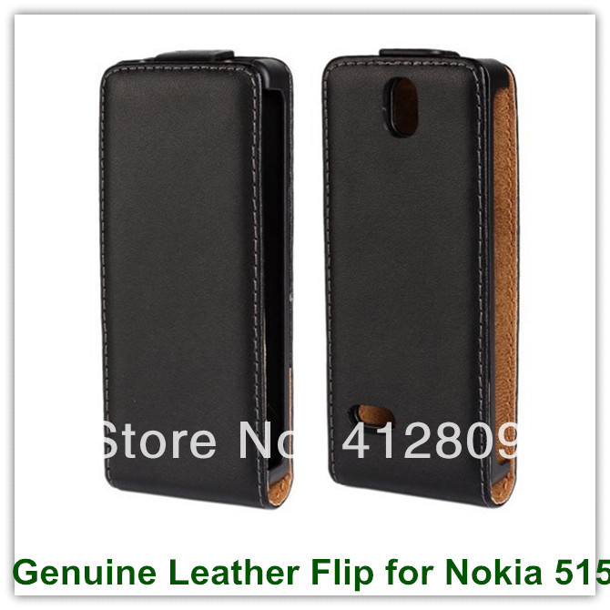 Genuine Flip Leather Case for Nokia 515 with Magnetic Closure Pouch Cover High Quality Back Skin Covers