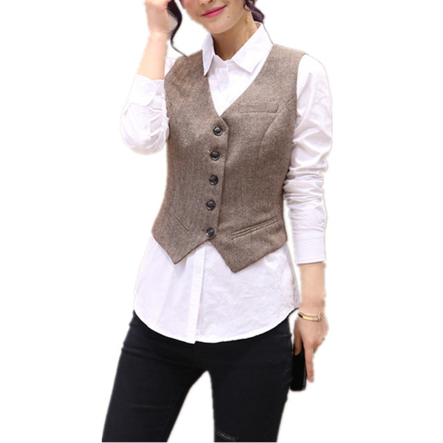 Vintage Short Women s Vest V-Neck Brief Work Vests Fashion Waistcoat for  Women Sleeveless Office Jacket Lady s Coat Female Vest 4acc6bb44e