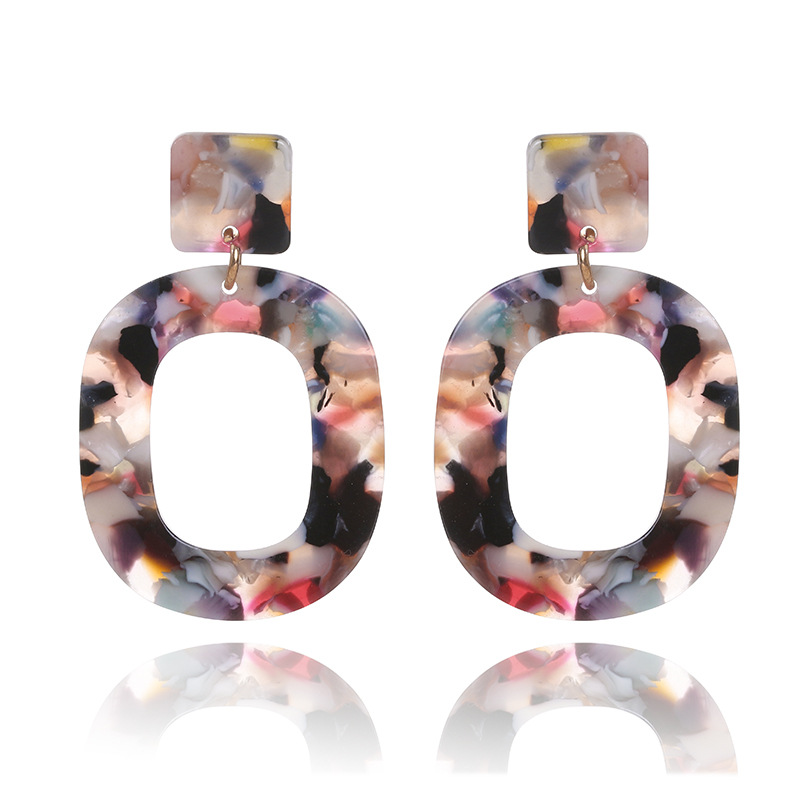 Trendy 2018 Big Geometric Tortoiseshell Earrings For Women Punk Colorful Acrylic Resin Dangle Earring Party Jewllery Gifts
