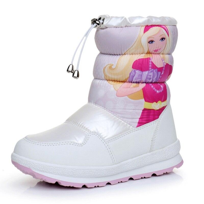 ULKNN 2018 Children Winter Waterproof Boots Girls Cartoon Snow Boots Baby Warm Plush Shoes Kids Soft Leather School Casual Shoes