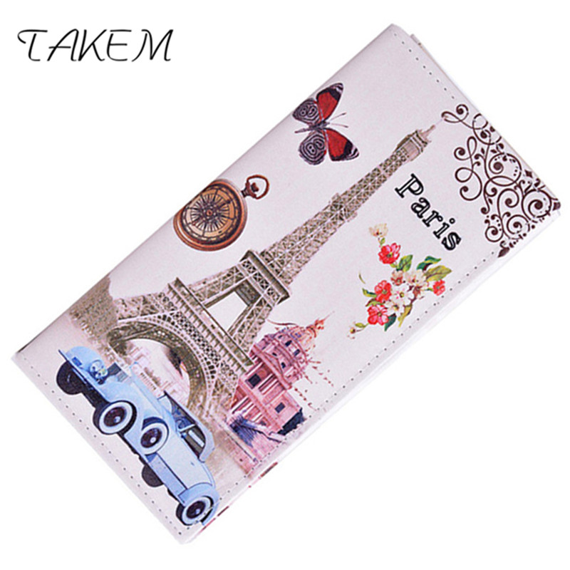 TAKEM PU Leather Women hasp Long Eiffel Tower Wallet Purse Female Wallets Purse Card Holder coin cash bag Portefeuille femme 2018 retro women long wallet purse luxury designer coin purse card holders female handbag wallet for girl portefeuille femme