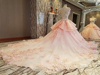 Romantic Pink Ball Gown Evening Dresses Long Sleeve Lace Robe De Mariage Custom Plus Size Bride