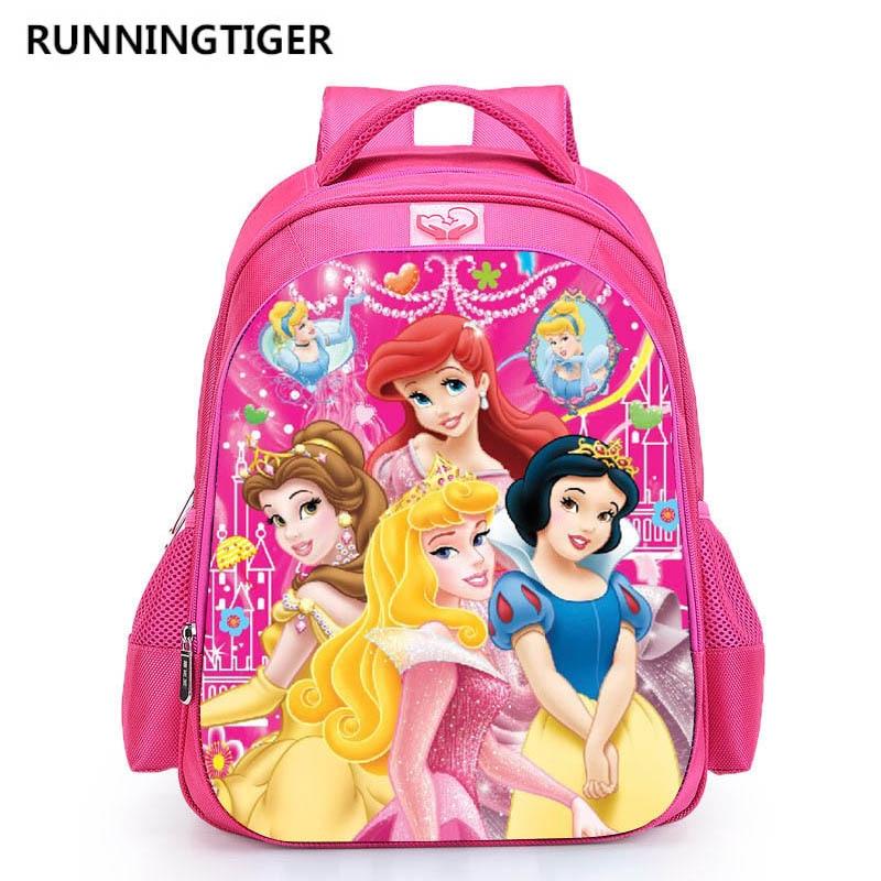 16 Inch 3D Princess School Backpack For Girls Printing Backpack Kids Children Cartoon Bookbag Girls School Bags Mochila Escolar
