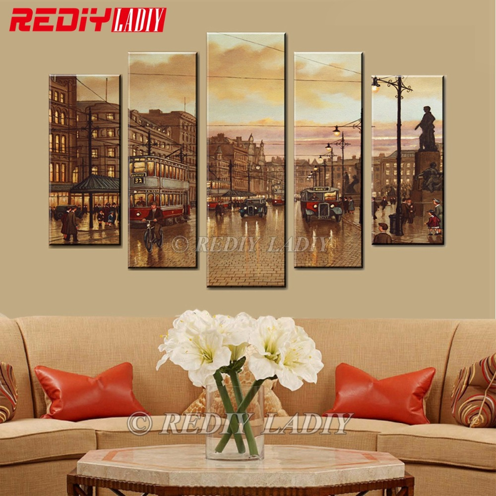 Diamond Painting Triptych Full Square Diamond Embroidery Street 5 Panels Modular Picture Wall Art Rhinestones Cross