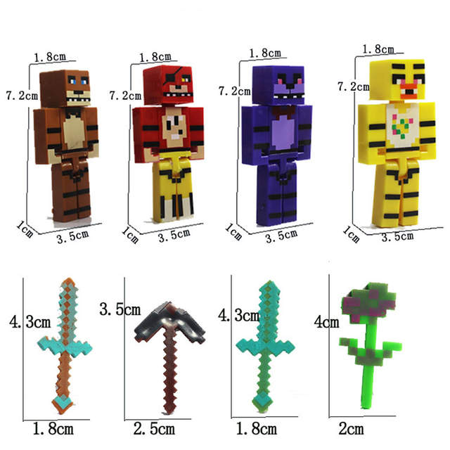4pcs for Minecraft FNAF Plastic Toy Set Five Nights At Freddy's Foxy Chica  Bonnie Freddy Action Figures with Sword Kid Toy Gift