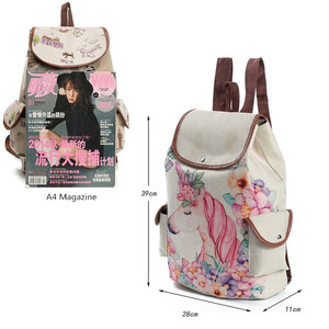 Image 4 - Miyahouse unicórnio impresso saco de viagem mochila lona feminina alta qualidade cordão material linho mochila