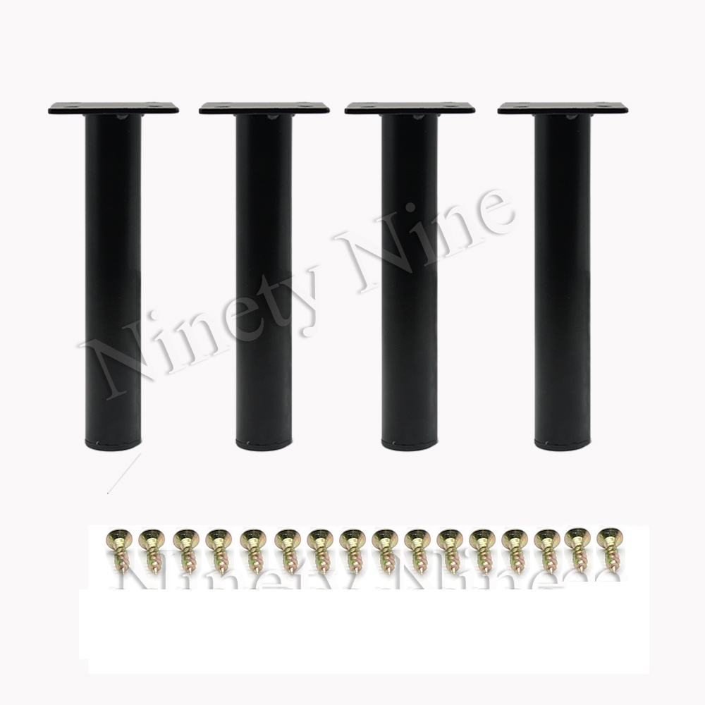 4Pcs Metal Adjustable Round Cabinet Sofa Bed Furniture Cabinet Foot Legs Feet Support  With Screws 130MM Or 150MM