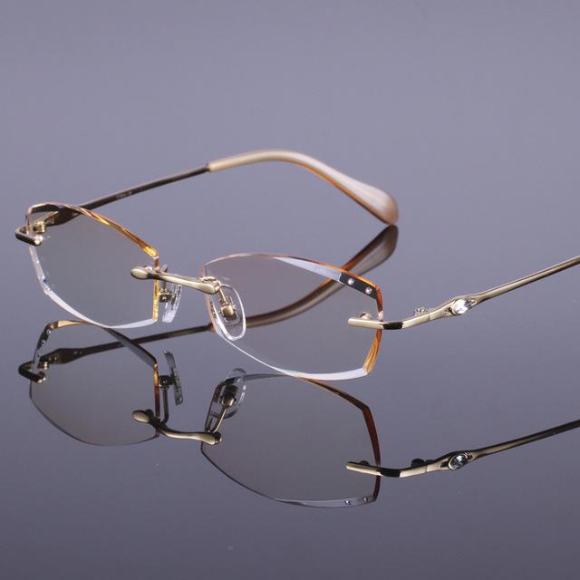 Vidros do olho quadros diamante arestas de corte seção das senhoras óculos armações de óculos mulheres decorações de titânio vidros ópticos