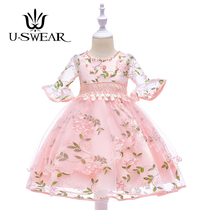 U-SWEAR 2019 New Arrival Kid   Flower     Girl     Dresses   Flora Lace Embroidery Pearls Beaded   Girls   Pageant   Dresses   Ball Gown Vestidos