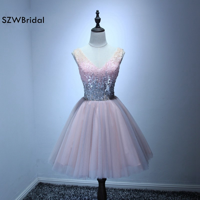 Fashion V Neck Pink Short Cocktail dresses 2019 Vestidos de coctel Real photo Knee Length Party Dress Summer Beaded