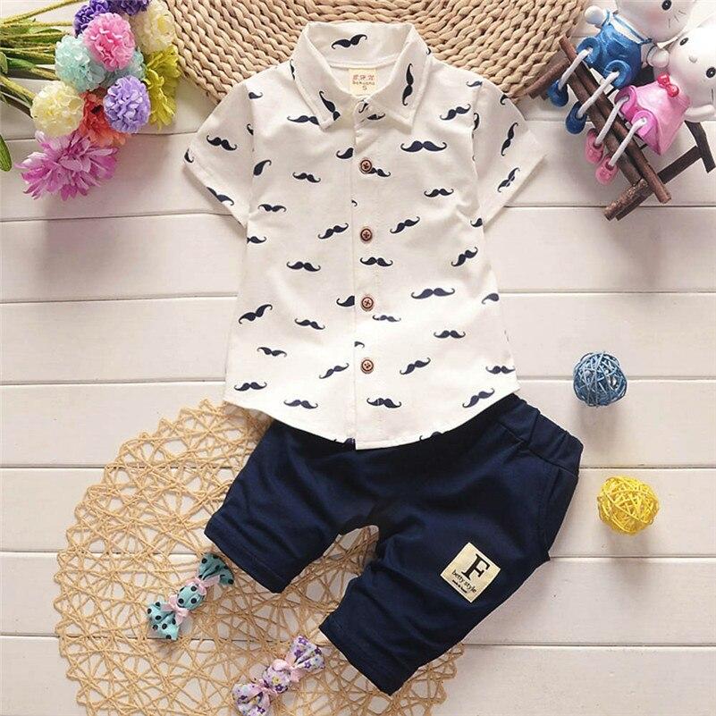 Winter 2018 kinder kleidung neue stil Kleinkind Kinder Baby Jungen Bart T Shirt Tops + Shorts Hosen Outfit Kleidung Set für baby QC3