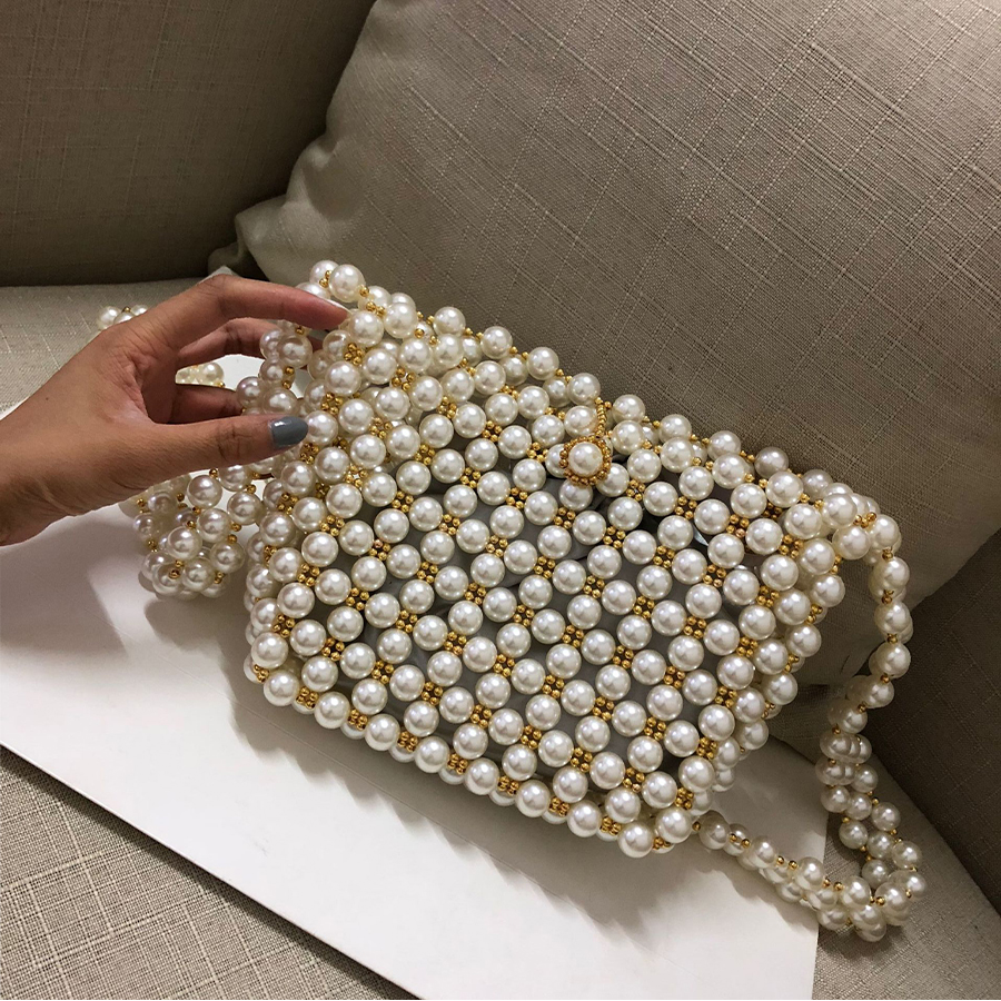 Beading Pearls Bags For Women 2018 Fashion Hollow Women Shoulder Bag  Handmade Pearls Design Messenger Bag Girls Crossbody Bags-in Shoulder Bags  from Luggage ...