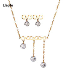 Eleple Elegant Cross 3 Rhinestones Pendant Necklace Earring Set Lady Fashion Luxury Party Stainless Steel Jewelry Sets S-S004 цена и фото