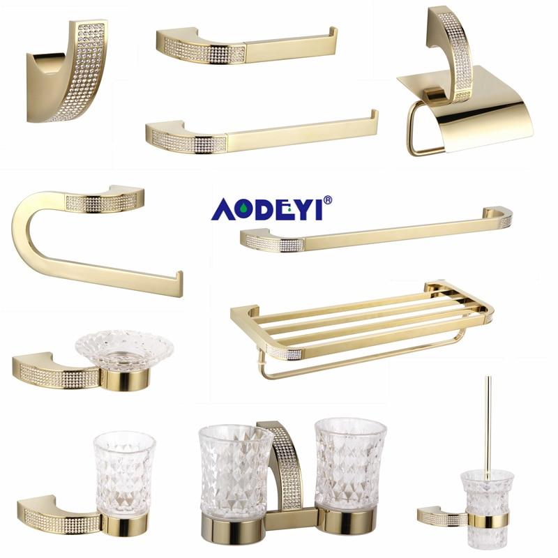 Czech Crystal Bathroom Hardware Set Robe Hook Towel Rail Rack Bar Shelf Toothbrush Holder Bathroom Accessories Gold/Chrome