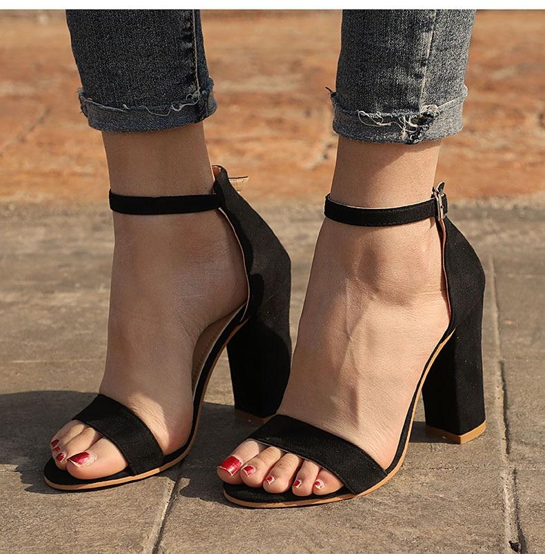 Women Sandals Ankle Strap Summer Shoes Woman High Heels Sandals Plus Size 43 Chaussures Femme Open Toe Women Summer Sandals