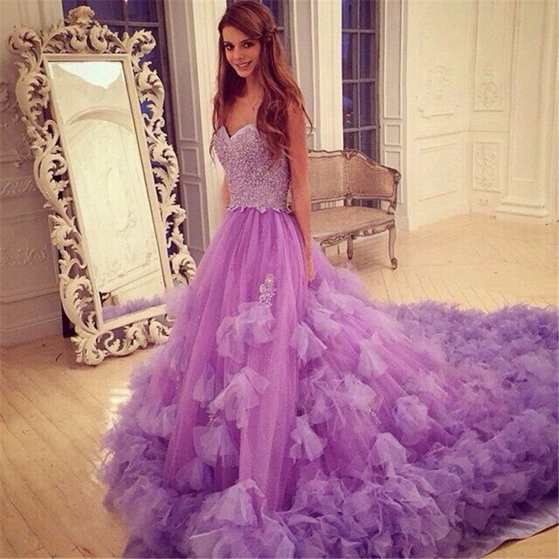 Amazing Violet Purple Prom Dresses Sweetheart Prom Dresses With Long train  Tulle Beaded Prom Dress With Flower Embelishment 92293bb30