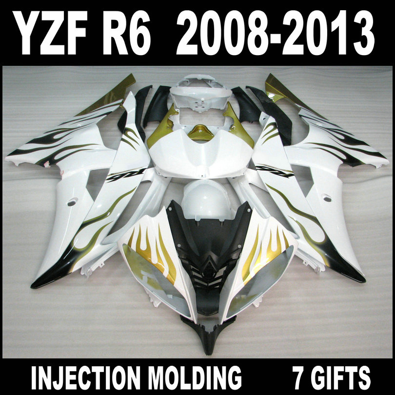 7 Gifts <font><b>fairings</b></font> for 08 09 10 11 12 13 YAMAHA <font><b>R6</b></font> <font><b>fairings</b></font> <font><b>2008</b></font> 2009 - 2013 gold black flames in white <font><b>YZF</b></font> <font><b>R6</b></font> <font><b>fairing</b></font> <font><b>set</b></font> HUN85 image
