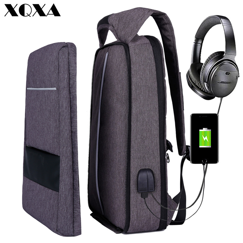 XQXA USB Charging Men Backpack 17 Notebook Bagpack Women 15.6 Laptop Bag Large Capacity Travel School Backpack for Teenage 2017 xqxa brand 15 6 inch laptop bag backpack men large capacity oxford compact men s 17inch backpacks unisex women bagpack