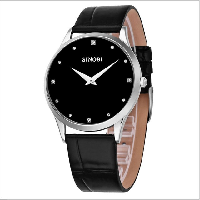 SINOBI Classic Watch Men Fashion Top Brand Luxury Leather Strap Men Clock Simple Geneva Quartz Wristwatches Relogio Masculino