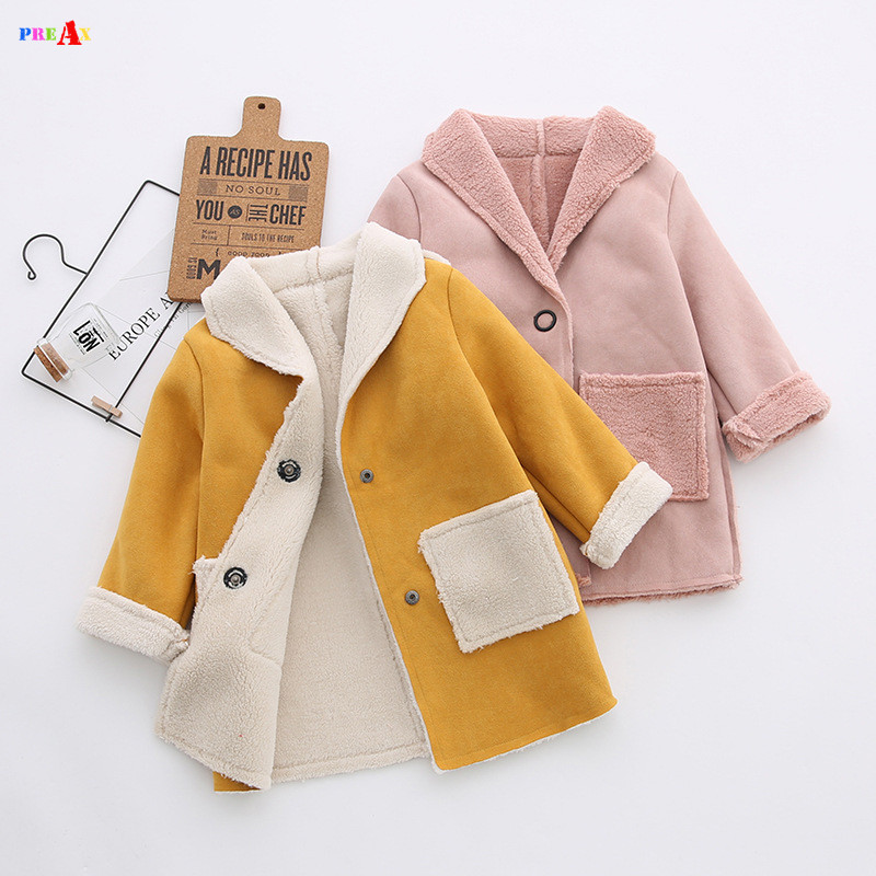 Baby Girls Winter Trench Coat Faux Fur Fleece Parkas Children Jackets for Girls Clothing 2017 Brand Warm Kids Outerwear Coats girls jackets and coats 2018 new brand outdoor baby windbreaker coats kids warm capes children winter outerwear girls clothing