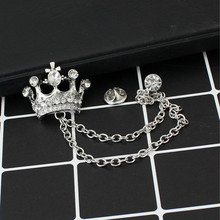 Brand Unisex Brooches For Women Jewelry Men's Suits Accessories Crystal Crown Lapel Pin Collar Lapel Pin Badge Brooch Wholesale