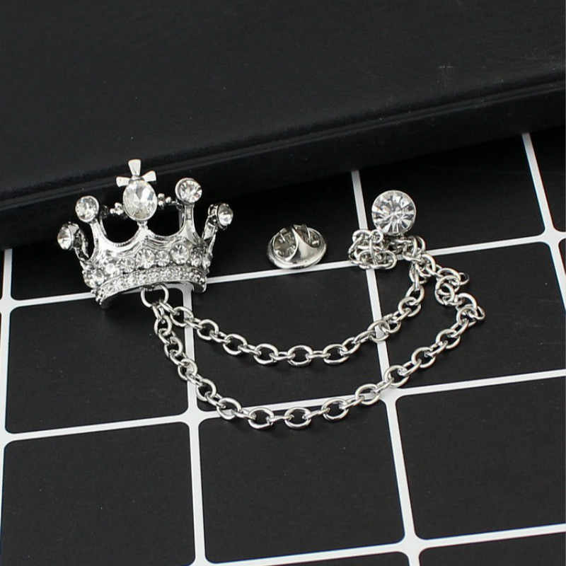 b1ca081ec93 Brand Unisex Brooches For Women Jewelry Men's Suits Accessories Crystal  Crown Lapel Pin Collar Lapel Pin Badge Brooch Wholesale