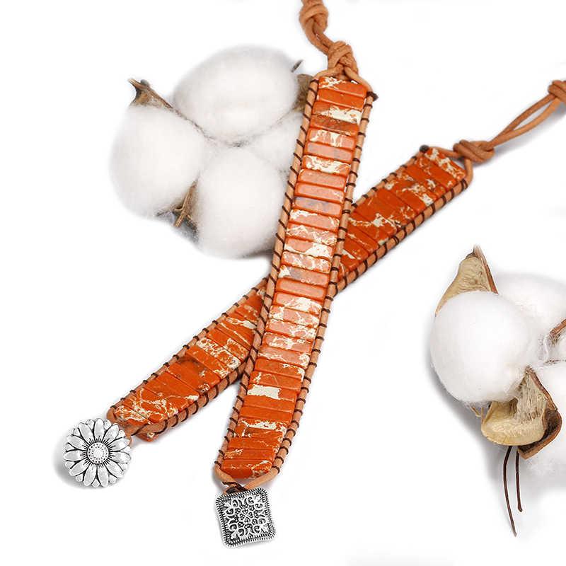 Bracelet enveloppant en corde cuir femme, Bracelet en forme de Tube, pierre naturelle, sédiment de mer, Bracelet cadeau en perles pour femmes