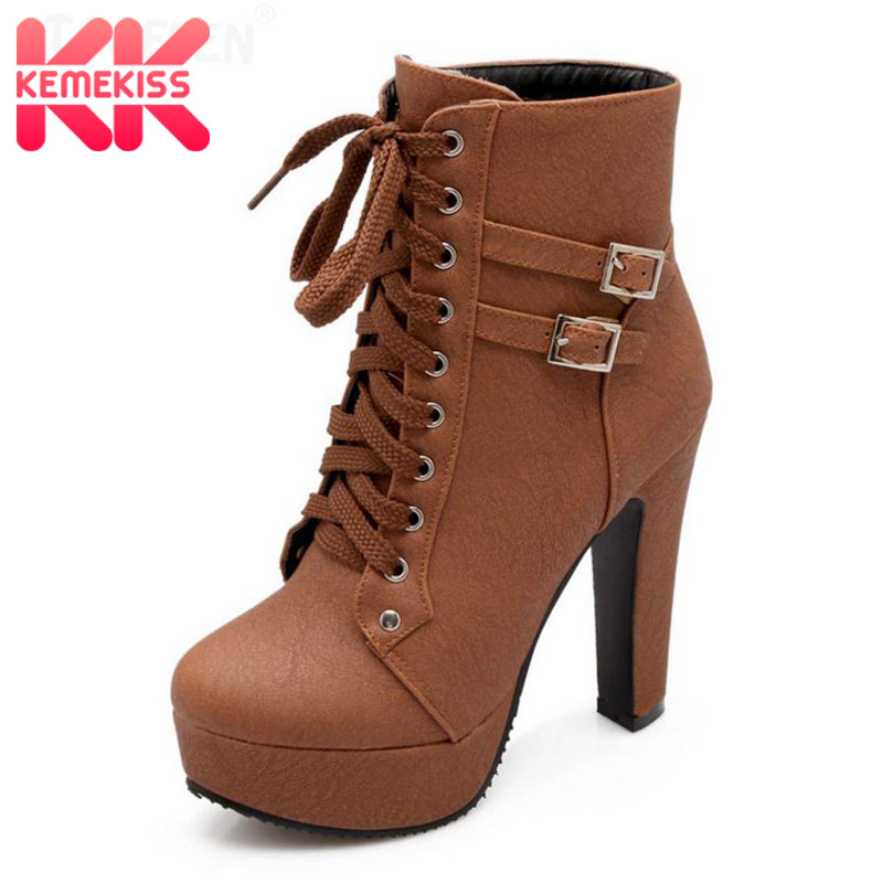 KemeKiss Size 30-50 Women High Heel Ankle Boots Fashion Lady Cross Strap Shoes Women Winter Warm Botas Heels Round Toe Footwear kemekiss women slippers clip toe flat heel crystal shine women summer shoes fashion korean holidays footwear size 36 40