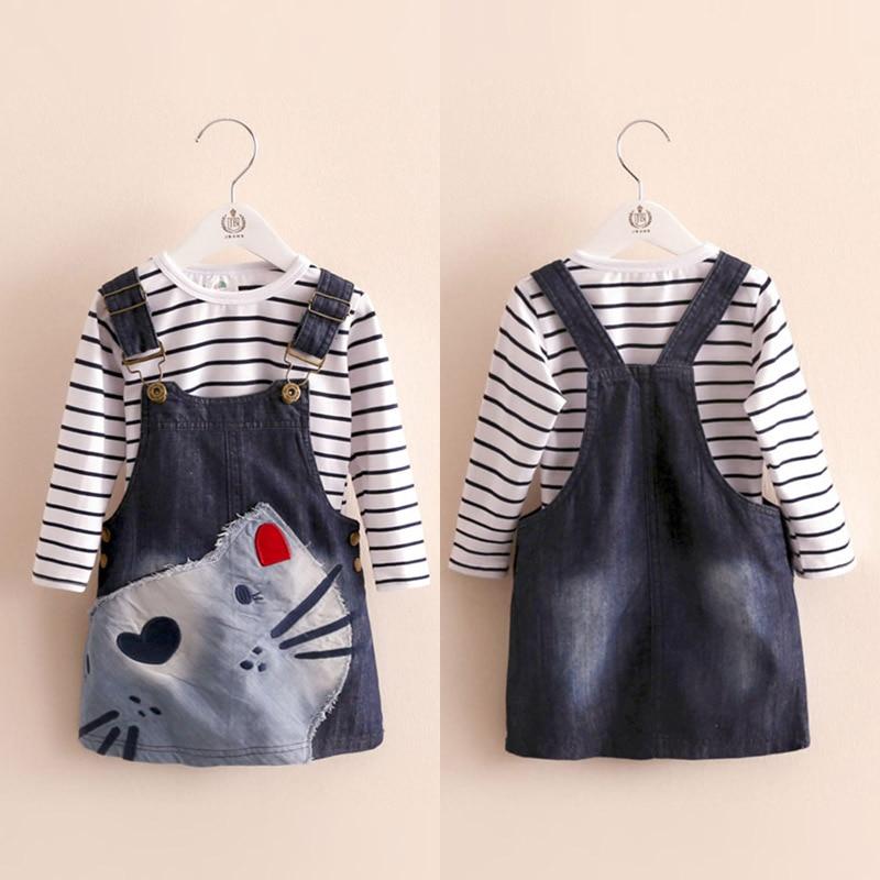 2018 Spring Female Children'S Child Girl Clothing T-Shirt + Denim Skirt Twinset Child Braces Skirt Set (Sell For Single)