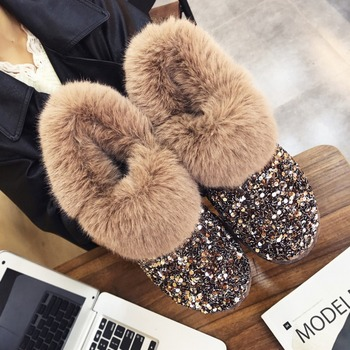 Женские зимние теплые ботинки противоскользящие подошва Зимние женские ботинки Блестящие модные брендовые Стиль легко носить волосатые Б...