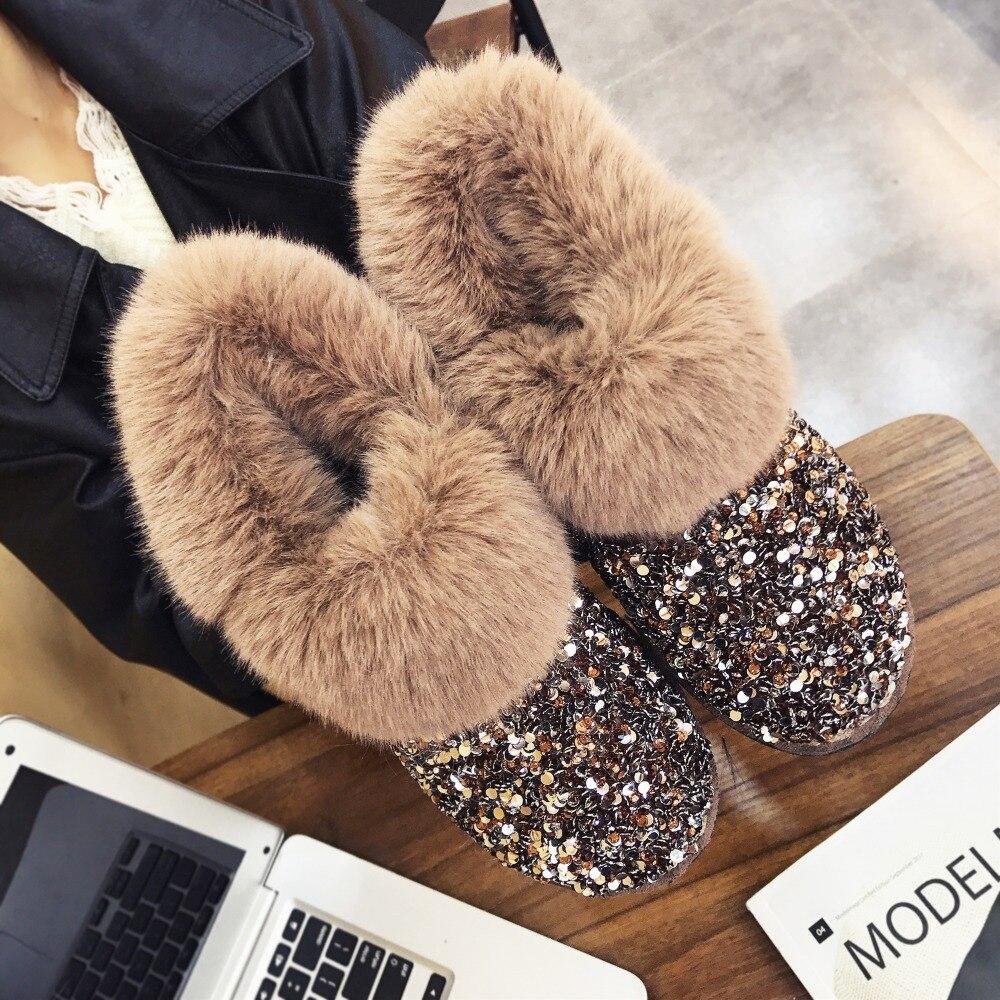 Frauen Winter Warme Stiefel Gleitschutz Sohle Lady Schnee Stiefel Glänzende Marke Mode Stil Einfach Tragen Haarigen Stiefeletten Plus