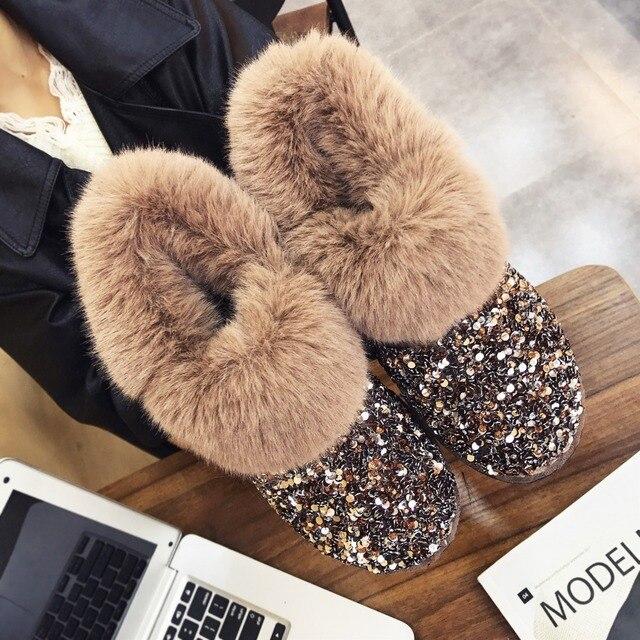 Las mujeres botas Invierno Caliente antideslizante suela de señora botas de nieve brillante de moda de la marca de estilo fácil usar peludo tobillo botas más